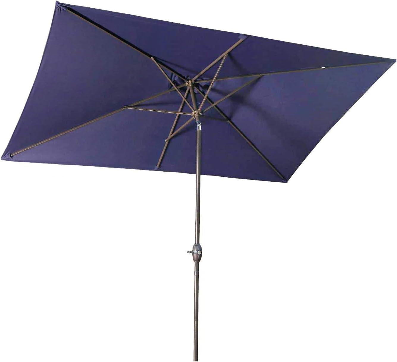 aok garden 6 5 10ft rectangular patio umbrella outdoor table umbrella tilt with push button and crank for deck pool market navy blue