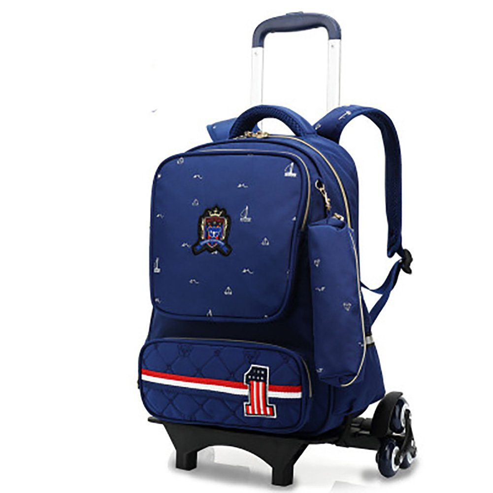 4745584d77 Amazon.com  Meetbelify 2-Piece Rolling Backpack for School 6 Wheel School  Backpack with Pencil Case for Boys Blue  Meetbelify