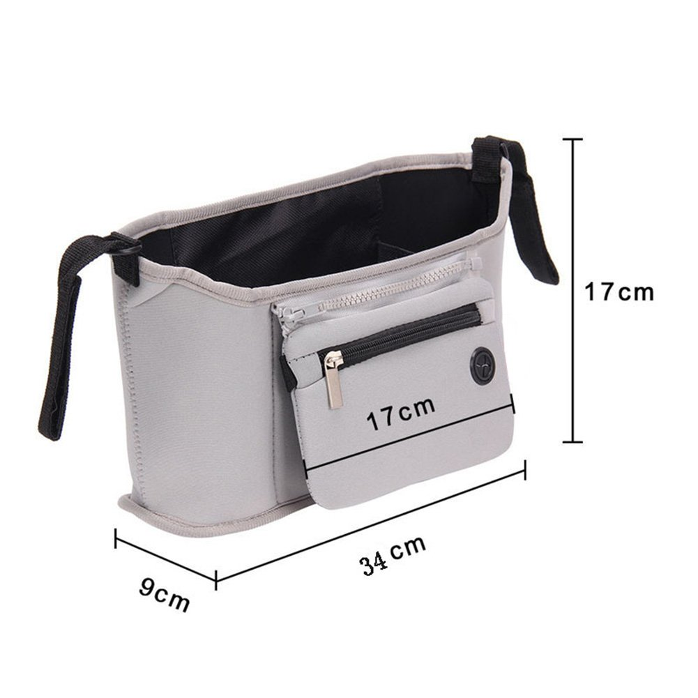 Baby Stroller Storage Pouch Nappy Changing Bags Pushchair Hanging Bag Bottle Cup Organizer (One Size, Gray) by ICOOLTECH (Image #2)