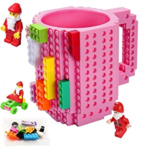 Build-on Brick Mug,Novelty Creative Compatible with LEGO DIY Building Blocks Coffee Cup with Bricks,Unique Funny Cup,Puzzle Mug,Beverage Pen Cup for Kids Office,Unique Christmas Gift Idea(Pink)
