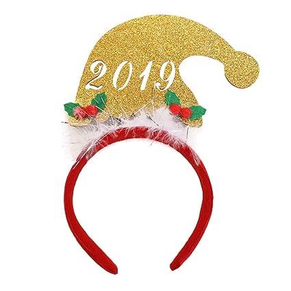 LUOEM 2019 Sombrero de Navidad Fiesta de año Fiesta de aro de Cabello  Diadema navideña Linda 009cd0058ba