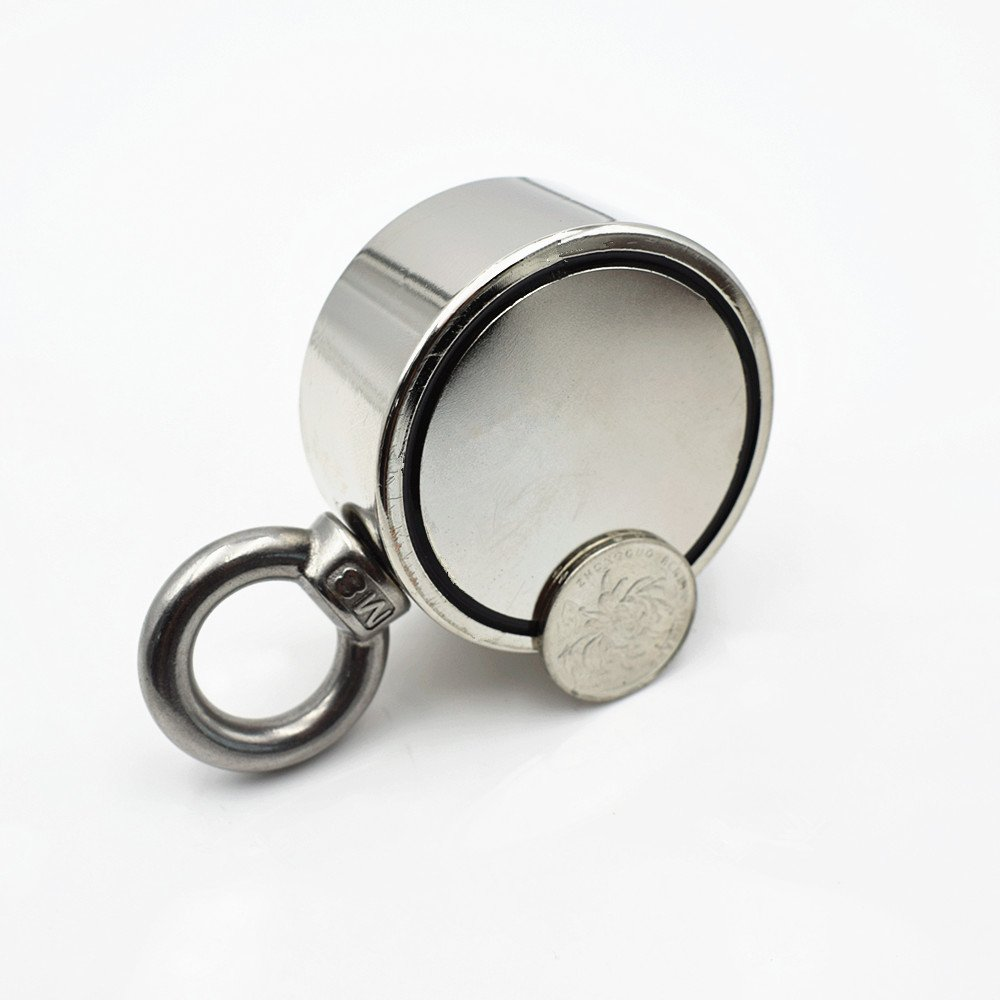 Diameter 2.36'' Round Neodymium Fishing Magnet, Combined 530 lbs Pulling Force Super Strong Neodymium Magnet with Eyebolt for Magnet Fishing and Salvage in River
