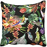 Throw Pillow Cover Square 18x18 Inches Tropical Hawaii Leaves Palm Tree in Watercolor Style Aquarelle Wild Flower for Pattern Border Polyester Decor Hidden Zipper Print On Pillowcases