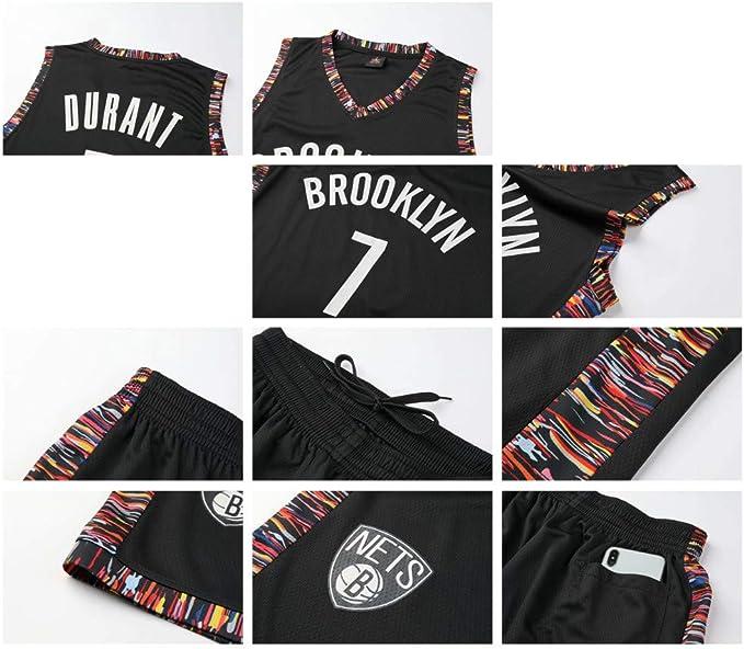 CURVEASSIST Ensemble De Maillots De Basket-Ball Brooklyn Nets # 7 Durant City Version Respirant Throwback pour EnfantsBasketball Summer Short Quick Dry Sportswear Black,Black-L