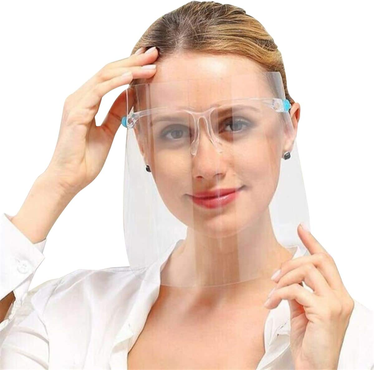 10 PCS Clear Full Cover Face Shield Glasses Safety Protector Reusable Anti-fog