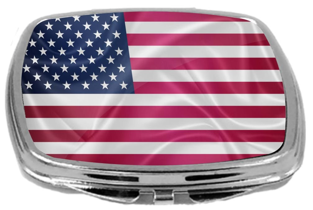 Rikki Knight Flag Design Compact Mirror, United States of America, 3 Ounce