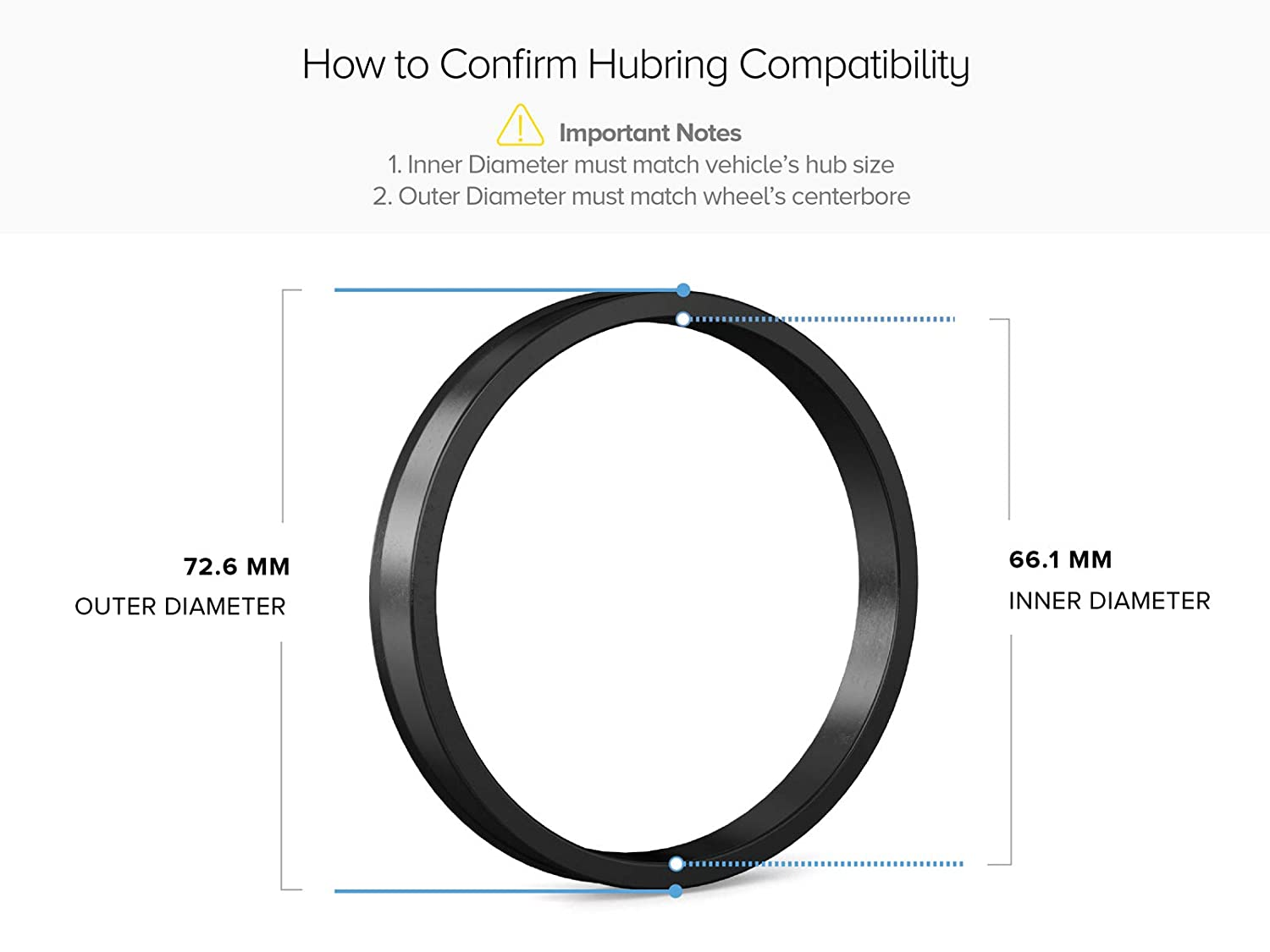 - 66.1mm ID to 72.6mm OD 72.6mm Wheel Centerbore - for many Nissan /& Infiniti Hubcentric Rings Pack of 4 Only Works on 66.1mm Vehicle Hubs /& Black Poly Carbon Plastic Hubrings Hub