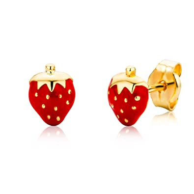 Miore Earrings for Kids studs with Strawberry Yellow Gold 18 Kt / 750
