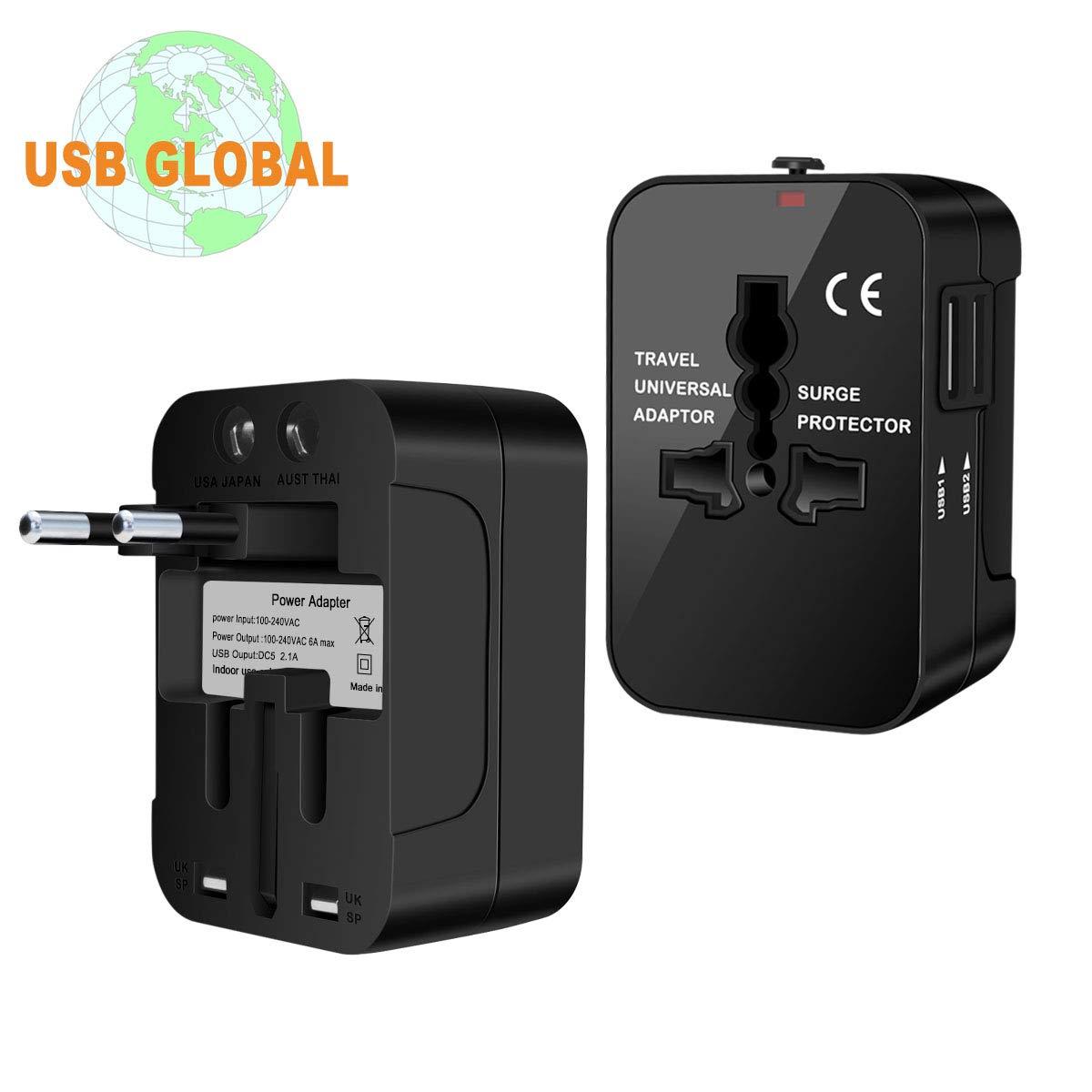 Zeuste Adaptateur Universel Prise pour Anglaise//Americaine//Europe//Australie Plus de 150 Pays Chargeur International avec Deux Ports USB Adaptateur de Voyage Noir