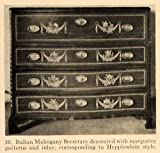 1919 Print Secretary Italian Mahogany Hepplewhite Desk - Original Halftone Print