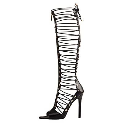 Onlymaker Women's Gladiator Lace Up Zipper Sexy Long Sandals Boots Stiletto Heel Peep Toe Cut Out Over The High Boots | Heeled Sandals