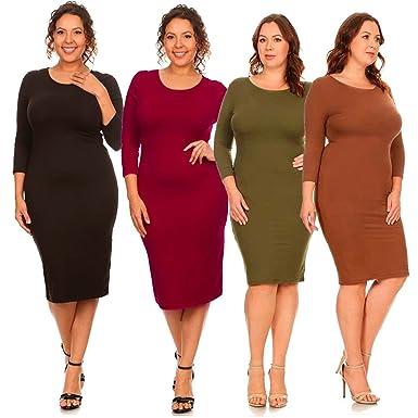 Plus Size Crew Neck 34 Sleeve Midi Bodycon Dress At Amazon Womens