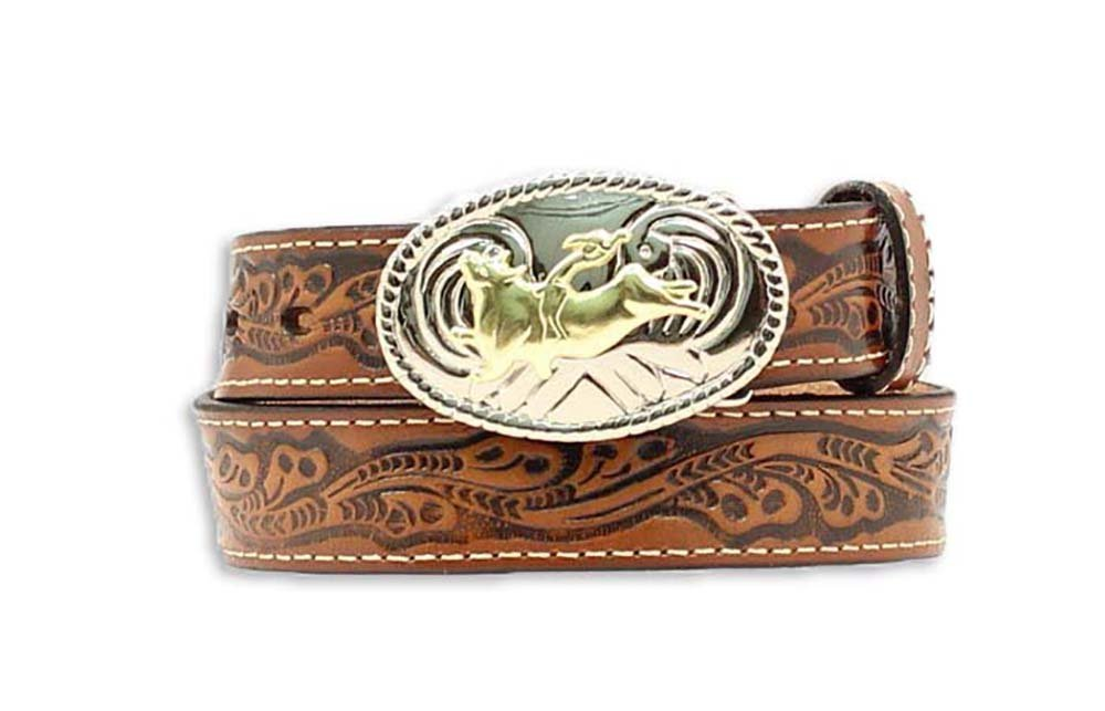 Nocona Boys' Floral Bull Rider Leather Belt (Brown, 28'')