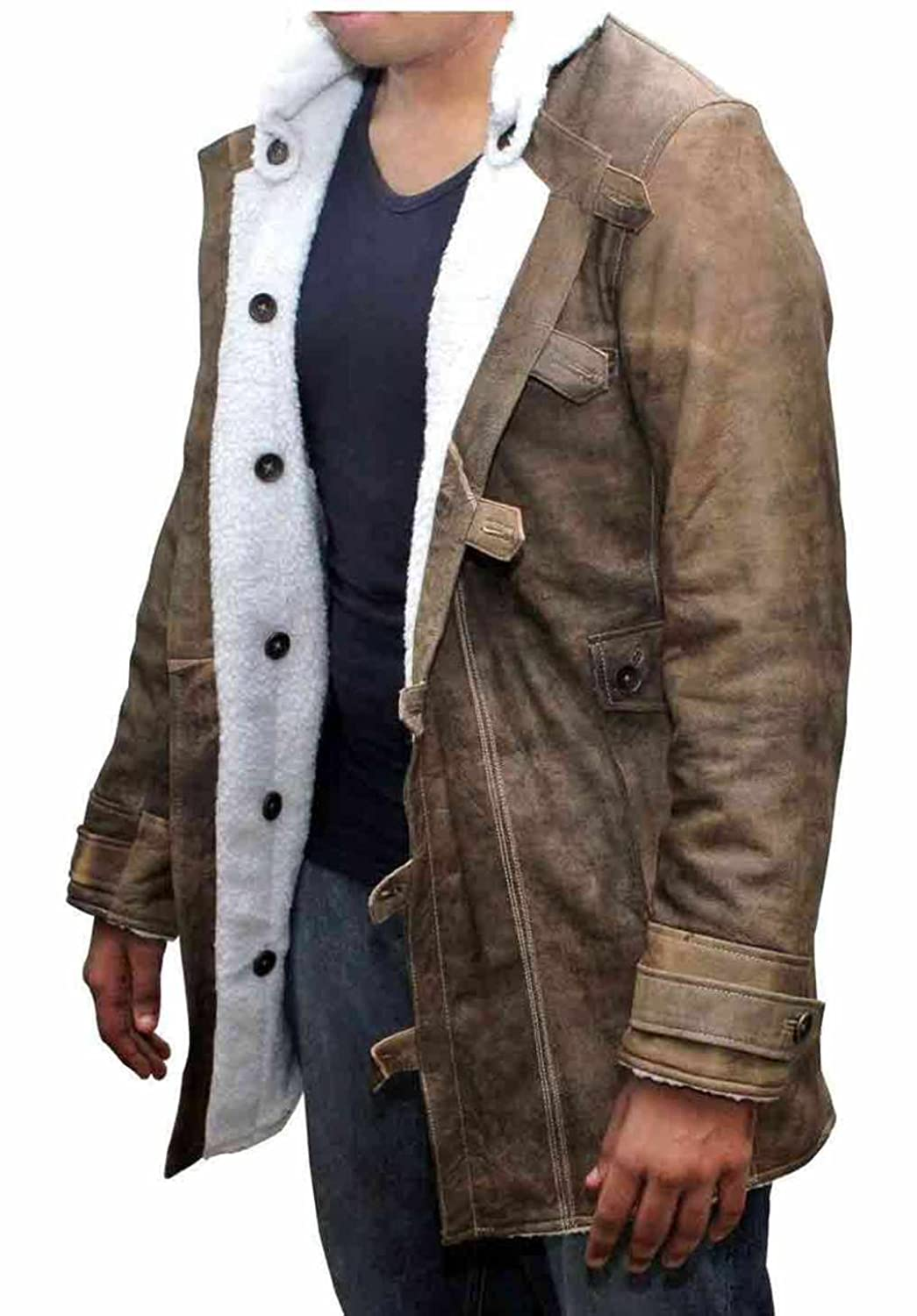 Men's Shearling Coat - Distressed Brown Leather Shearling Jacket