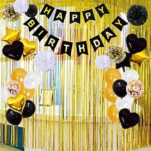 風船 誕生日 飾り付け セット パーティー風船 (超豪華72点セット)Happy Birthday バースデー 装飾 バルーン きらきら風船 華やか おしゃれ デコレーション お祝い ハンドポンプパーティー 装飾 子供 大人 老人 お祝い (ブラック)