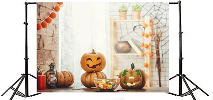 Baocicco 6x4ft Happy Halloween Backdrop Modern Home Decoration for Halloween Big Fake Spider Piles of Straw Dolls Pumpkins Photography Background Halloween Party Trick or Treat Thanksgiving