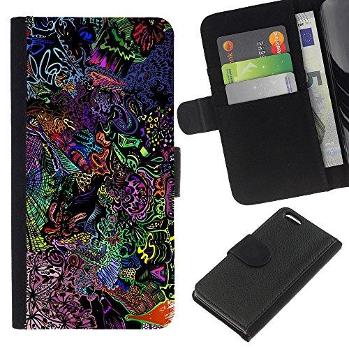 Funny Phone Case // Cuir Portefeuille Housse de protection Étui Leather Wallet Protective Case pour Apple Iphone 5C /Motif de LSD psychédélique/