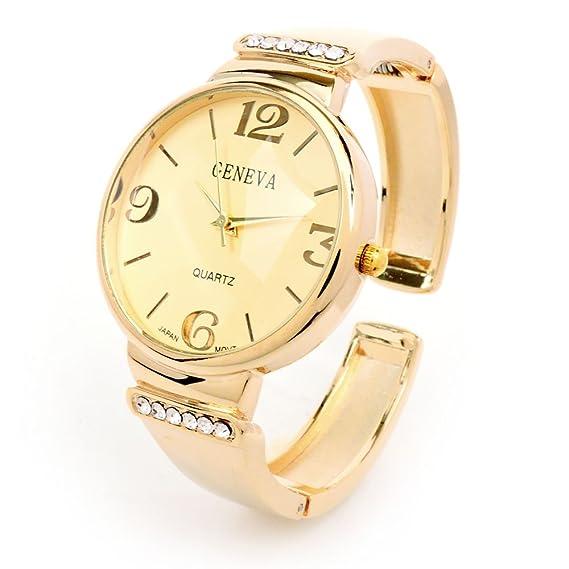 Pulsera de cristal dorado de ginebra de la mujer Cuff reloj: Amazon.es: Relojes