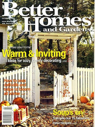 Better Homes and Gardens October 2000 Ideas for Cozy Comfy Decorating, 15 Fabulous Soup Recipes, Make Daffodils and Tulips Bloom All Winter, Dress Your Walls With Fabric, End-of-the-Bed Bench, A Front Porch That Fits In