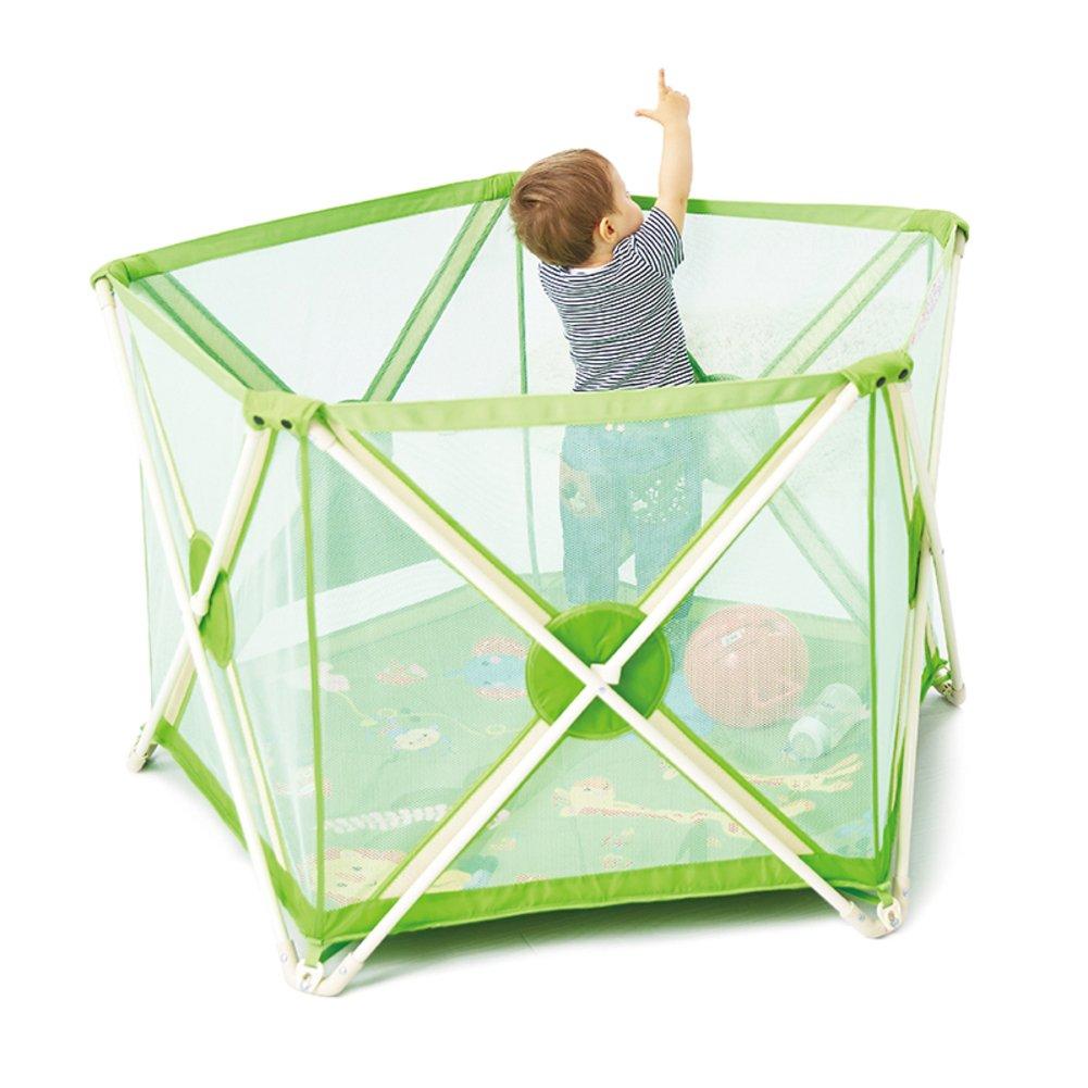 子供のためのベビー サークル,赤ちゃん幼児フェンス 安全柵 高さ折りたたみフェンス ホーム クロール レール-グリーン 72x112x75cm(28x44x30inch) B07D1MJ2BG 18482  グリーン 72x112x75cm(28x44x30inch)