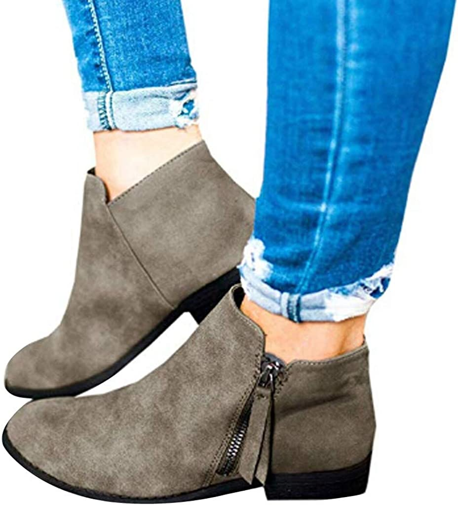 Ankle Short Boots for Women,Jchen Vintage Ladies Autumn Solid Color Zipper Ankle Boots Chunky Flat Heel Short Boots