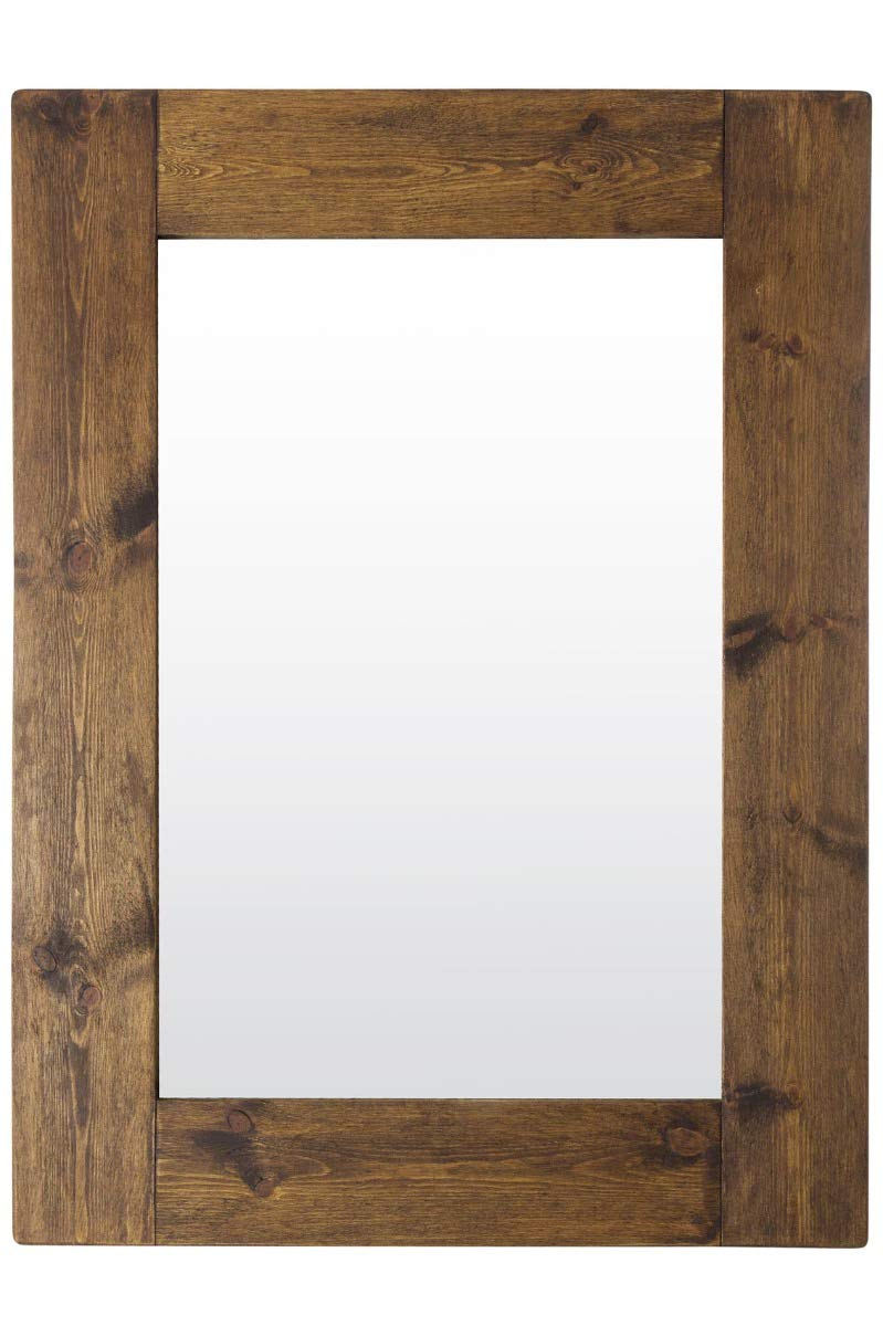 Large Rustic Natural Solid Wood Brown Wall Mirror 4Ft X 3Ft (122cm X 91cm) MirrorOutlet