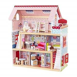 KidKraft- Casa de muñecas de madera con muebles y accesorios incluidos, 3 pisos, para muñecas de 30 cm , Color Rosa (65054 )