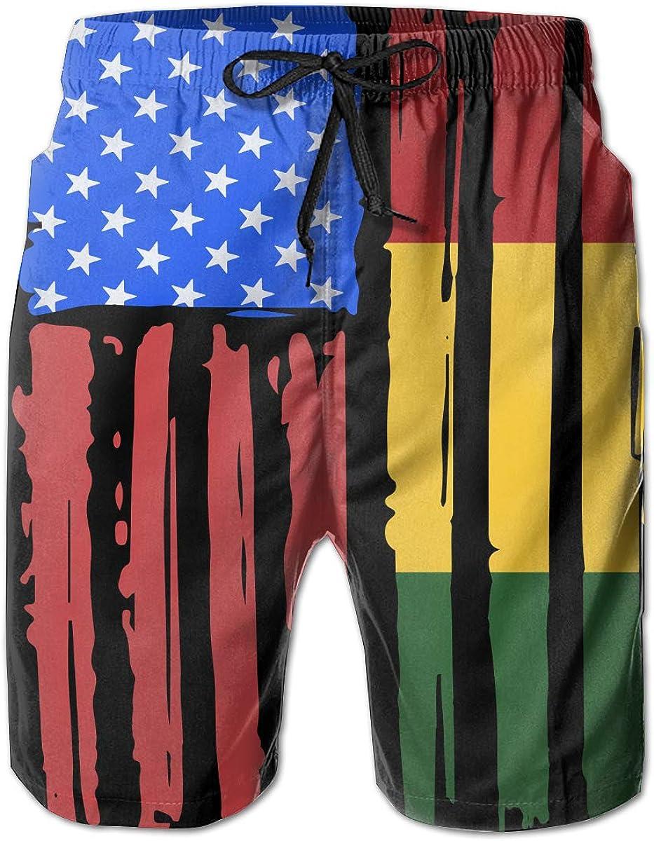STDKNSK9 Mens American Half Rasta Flag Board Shorts Swimming Shorts