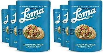 Loma Linda Blue - Vegan Meal Solution - Lemon Pepper Fishless Tuna (3 oz.) (Pack of 6) - Non-GMO, Gluten Free