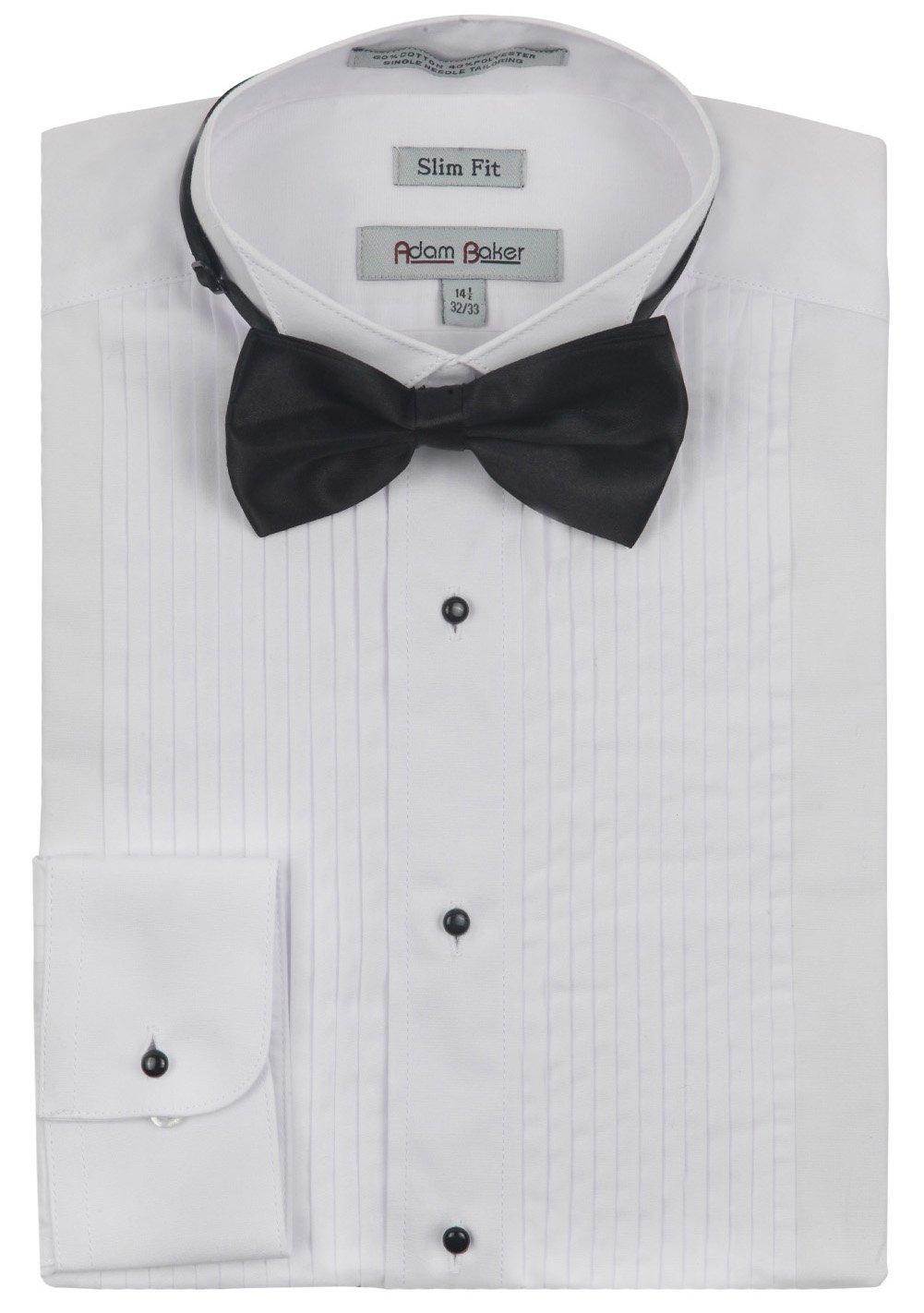 Adam Baker Men's Slim Fit Convertible Cuffs Formal Wingtip Collar Tuxedo Shirt (Bowtie & Studs Included) 1943