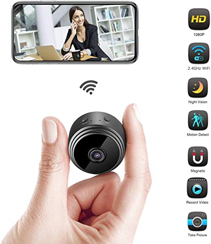 Spy Camera, HD 1080P Mini Wireless Hidden Camera, Portable Micro Camera with Motion Detectand Night Vision, Hidden Security Camera with Loop Recording Perfect for Home and Office
