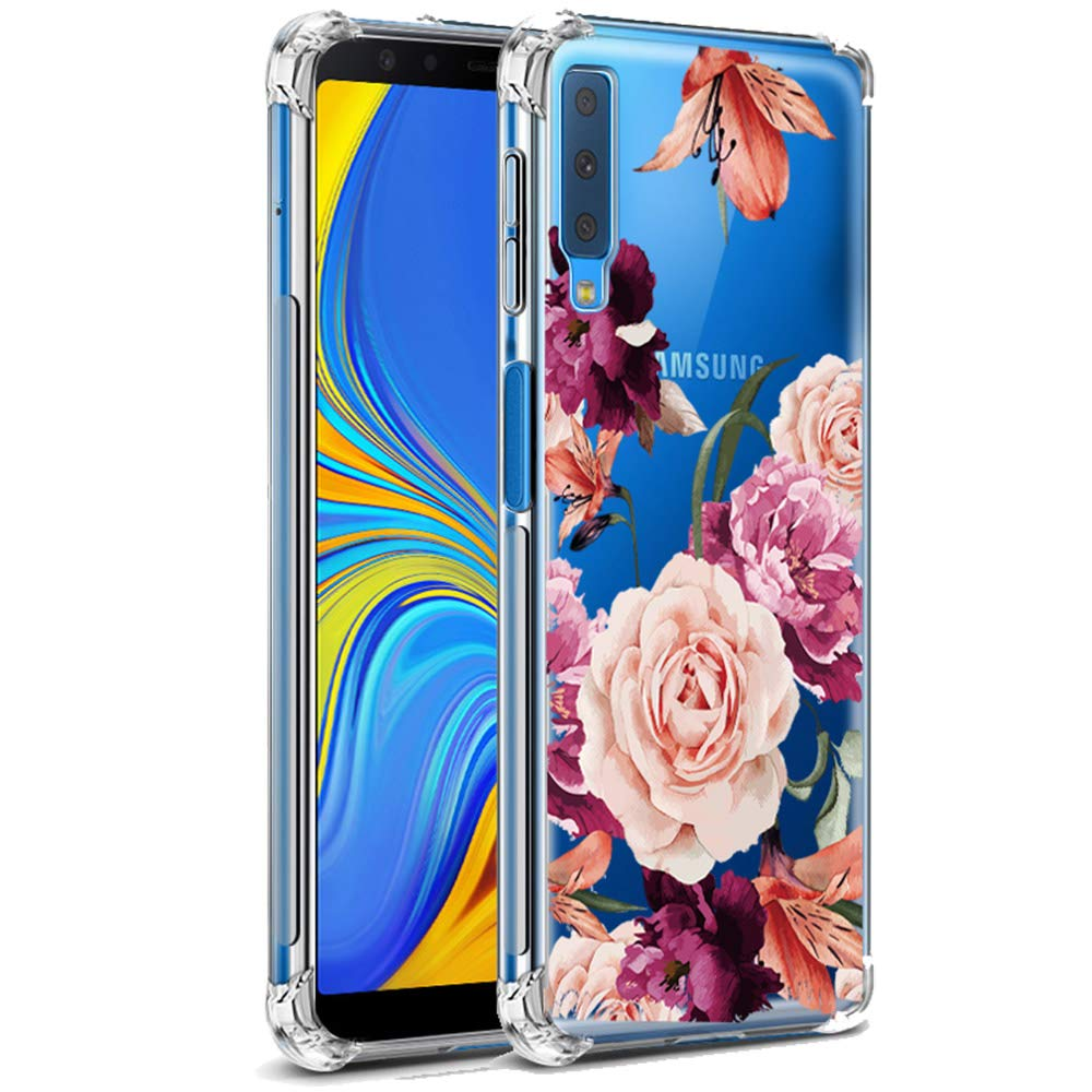 LUOLNH Galaxy A7 2018 Case,Samsung Galaxy A7 2018 Case with Flower,Slim Shockproof Clear Floral Pattern Soft Flexible TPU Back Cover for Samsung ...