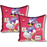"Disney Mickey and Friends 2 Piece Satin Polyester Cushion Cover Set - 16""x16"", Pink"