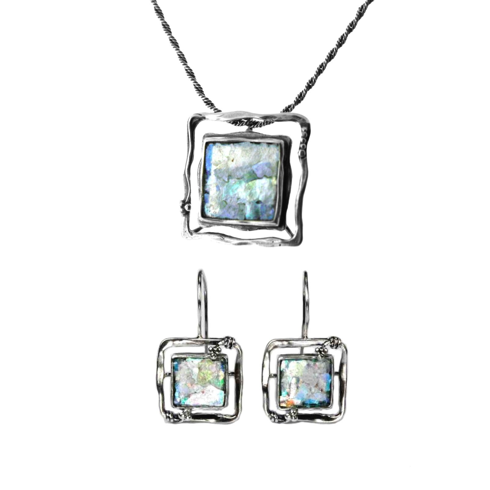 Ancient Roman Glass Earring and Necklace Set Square Frame