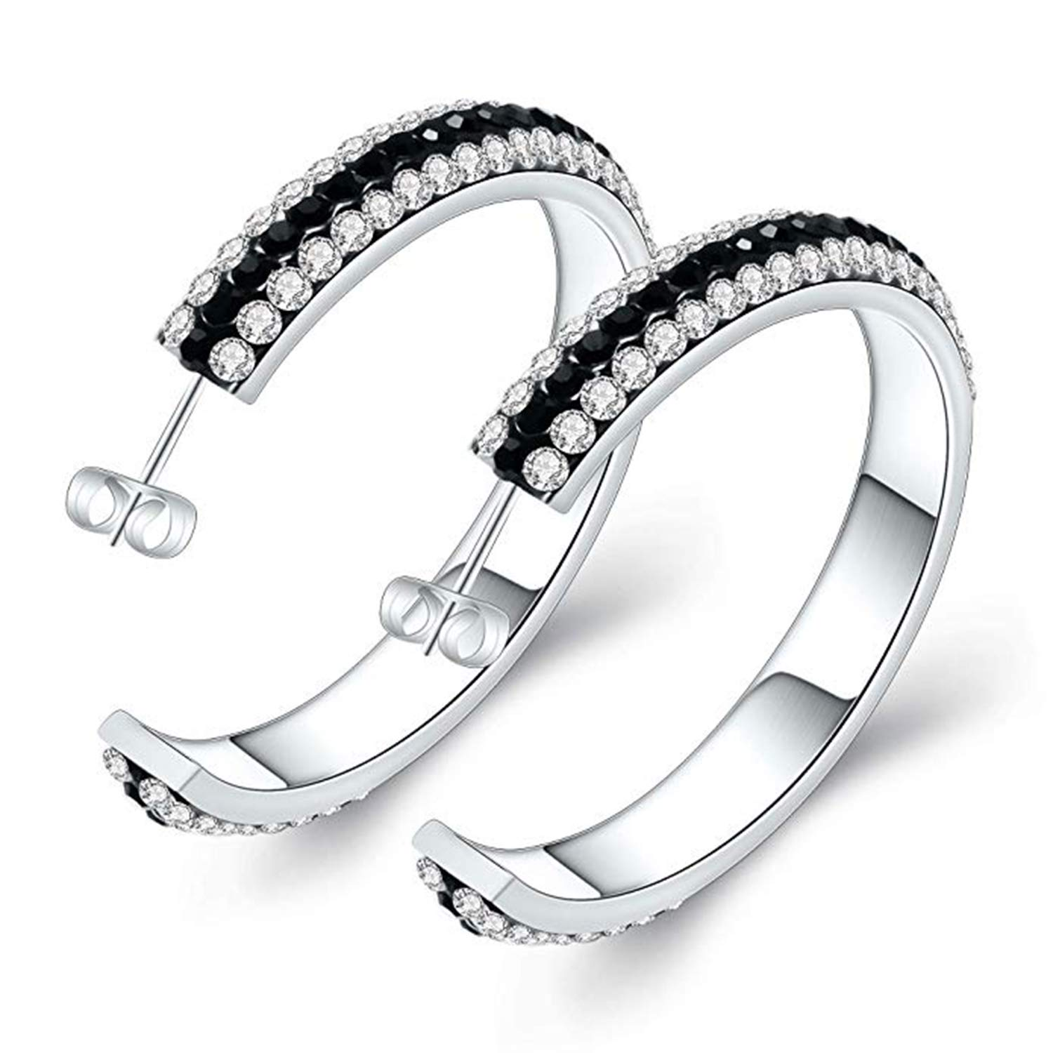 Party Wear Jewellery Suhana Jewellery Hoop Earrings Collections 14K White Gold Fn Black CZ for Girls Womens Daily