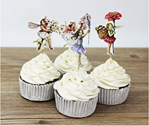 Set of 24 Pieces Fairy Flower Cupcake Topper, Fairy Flower Theme Party Decorative Cupcake Topper For Girl Birthday Party
