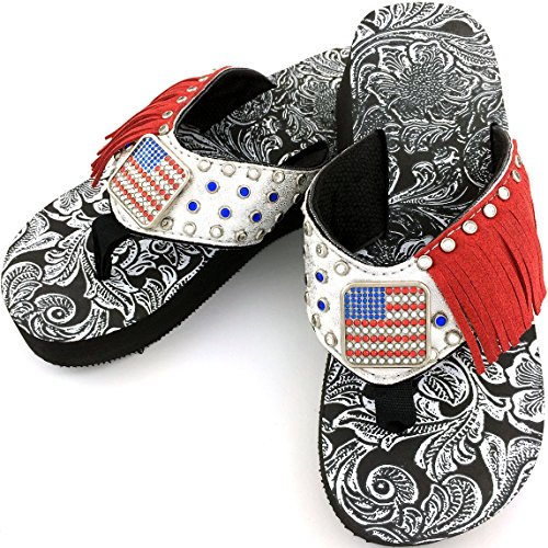 Western Peak Women's American Pride Full Rhinestones Flag Concho Red White Blue Flip Flops Sandals (7)
