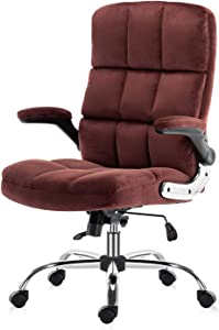 SP Velvet Office Chair Adjustable Tilt Angle and Flip-up Arms Executive Computer Desk Chair, Thick Padding for Comfort and Ergonomic Design for Lumbar Support (2878rd)