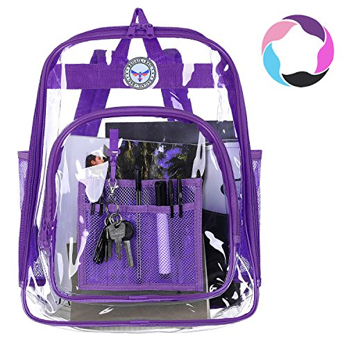 Bagail Clear Backpack Heavy Duty See Through Transparent Daypack Student School Bookbag(Purple)