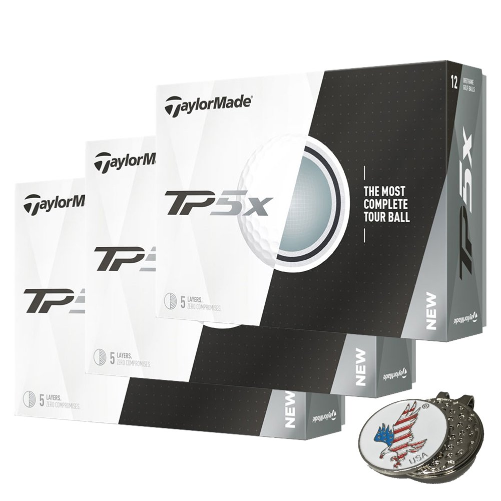 3 Dozen of TaylorMade TP5X White Golf Balls 2017 TP5 X + 1 Custom Ball Marker Hat Clip Set (American Eagle)