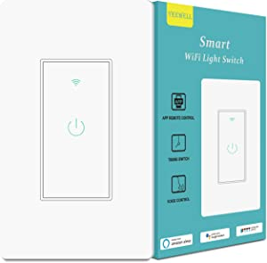 Smart Light Switch, Yeewell 2.4Ghz WiFi Light Switch with Timer and Remote Control, Works with Alexa, Google home and IFTTT, Neutral Wire Needed, Single Pole, No Hub Required, 1 Pack