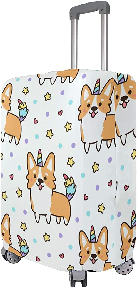 FOLPPLY Cute Cartoon Unicorn Pattern Luggage Cover Baggage Suitcase Travel Protector Fit for 18-32 Inch