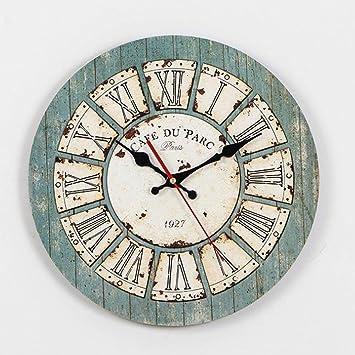 GuoEY Vintage árabe/Romano numer¡Les diseño S¡lencioso Ronda Relojes de Pared