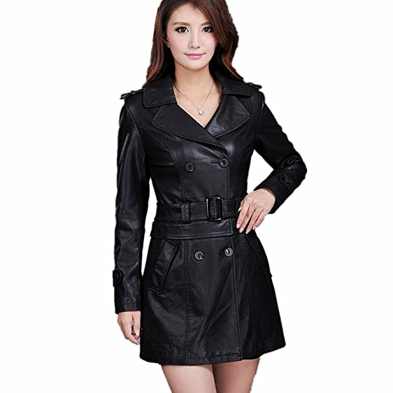 9361813c86700 Women Dual Use Pu Removable Ladies Faux Synthetic Long Leather Trench Coat