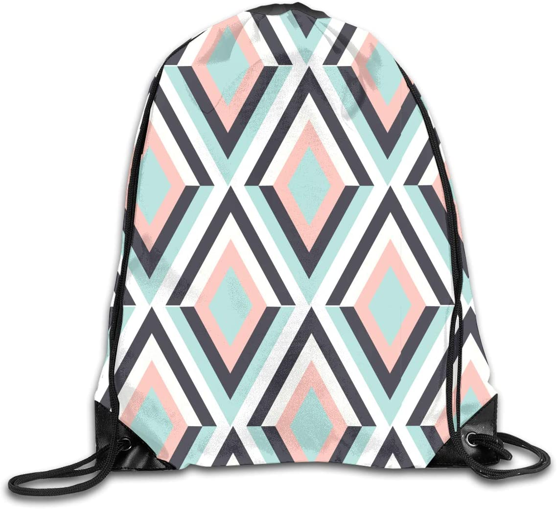 CoolStuff Travel Shoe Bags,Featured Geometric Drawstring Backpack Hiking Climbing Gym Bag,Large Big Durable Reusable Polyester Footwear Protection