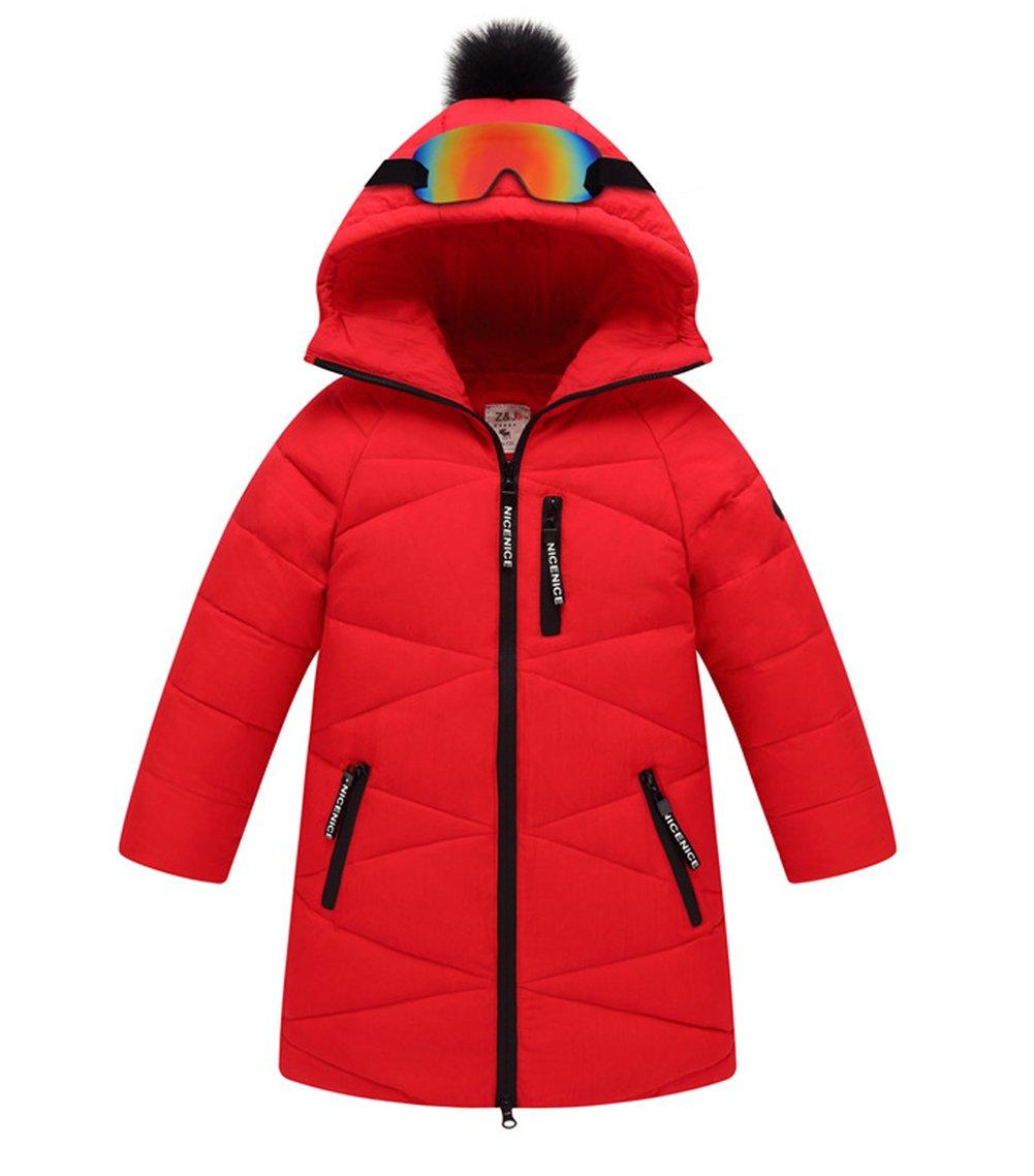 Tortor 1Bacha Kid Boy Girl Glasses Pom Pom Hooded Winter Down Coat Long Jacket Red 10-11