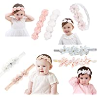 Baby Elastic Chiffon Flower Headbands Princess Girls Hand Sewing Beads Flower Headwear (7pack Flower)