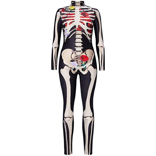 XUEBAI Mujer Disfraz de Halloween Navidad 3D Esqueleto Body Zipper ...