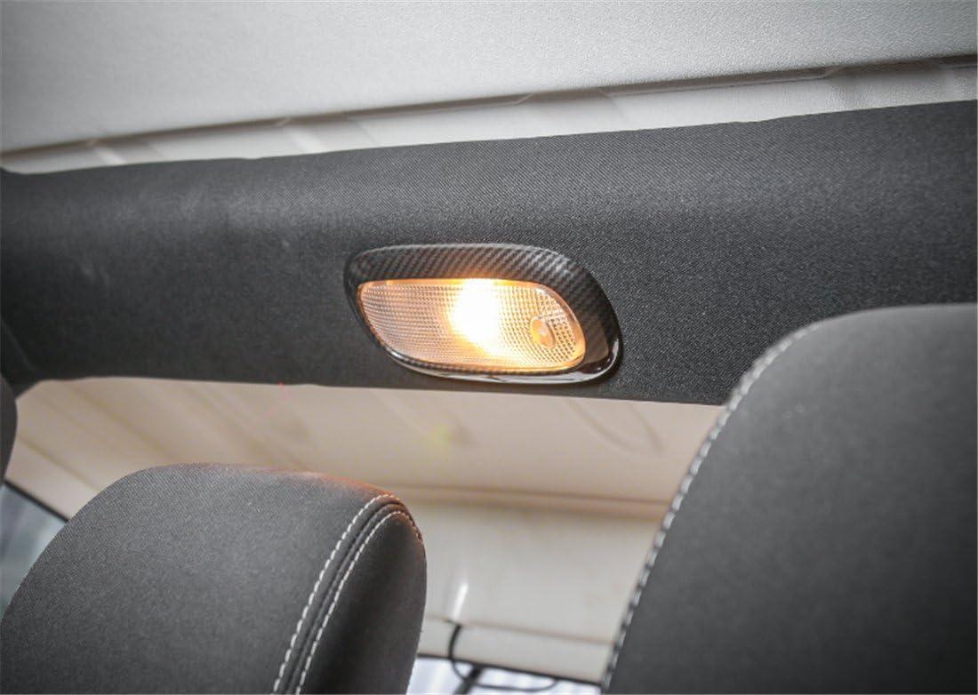 YOCTM Black Carbon Fiber Car Interior Front Rear Reading Light Cover Decoration Frame Trim Fit for Jeep Wrangler 2011-2018