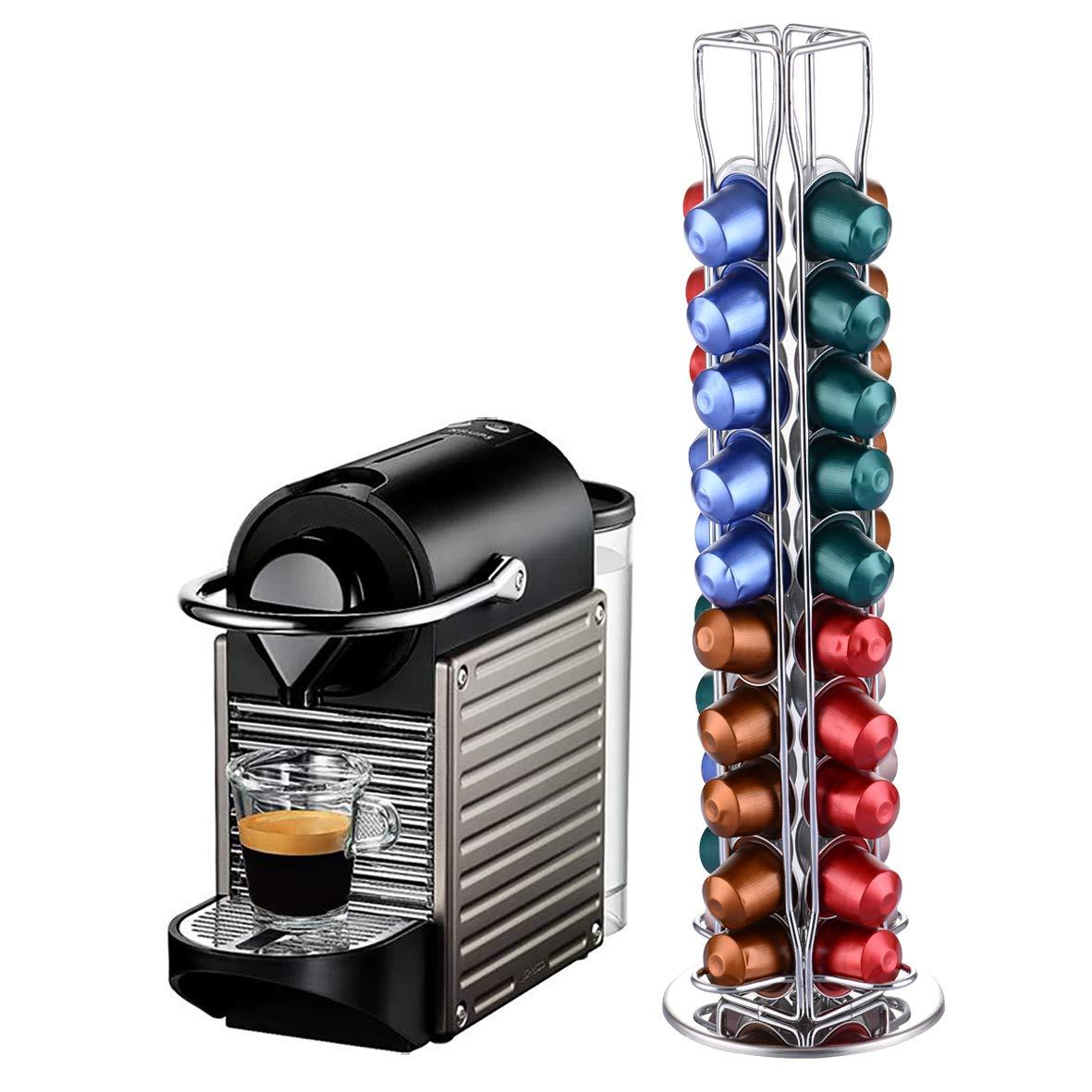YGJT Dispensador Capsulas Nespresso-40/60 Piezas Café 360 Grados Giratorio Cápsulas-Cromo Plateado Elegante con Acero Inoxidable (60): Amazon.es: Hogar